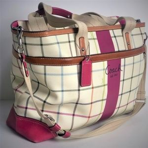 Authentic Coach Logo Heritage Tote Travel Book Bag